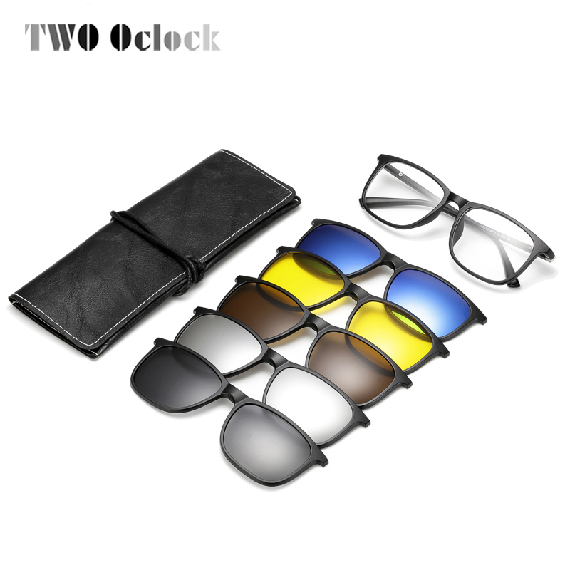 TWO Oclock <font><b>Magnetic</b></font> <font><b>Sunglass</b></font> <font><b>Men</b></font> Women Polarized UV400 <font><b>Clip</b></font> <font><b>On</b></font> Myopia Optic Prescription Glasses PC Frame <font><b>5</b></font> <font><b>In</b></font> <font><b>1</b></font> Glasses Eyewear image