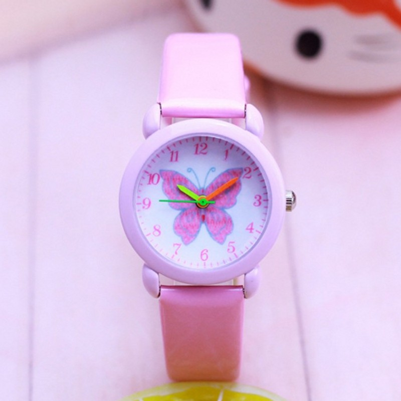 New Arrival Fashion Leather Quartz Butterfly Kids Cartoon Lady WristWatch Clock Student Watches Horlog Relogio Feminino Montres