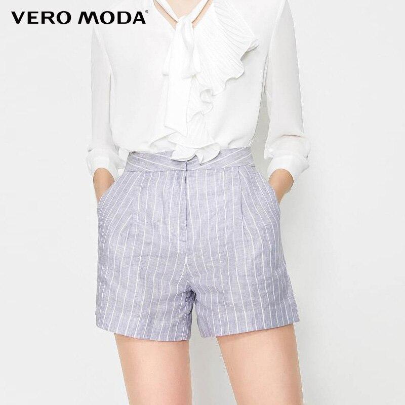 Vero Moda Women's Summer 100% Linen High-rise Striped Pants|319215518