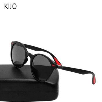KIJO DESIGN men's and women's classic handsome retro rivet polarized sunglasses TR90 leg lighter design oval frame UV400 protect sweet striped and rivet design women s satchel