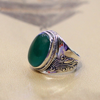 2019 Time-limited Platinum Bands Anel Feminino Character New Retro Engraved Art Elegant Women Wear Open Agate S925 Ring
