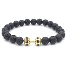 Dumbbell Natural Lava Stone Bead Bracelets for Men Woman Couple Hand Jewelry gift DropShipping 8mm