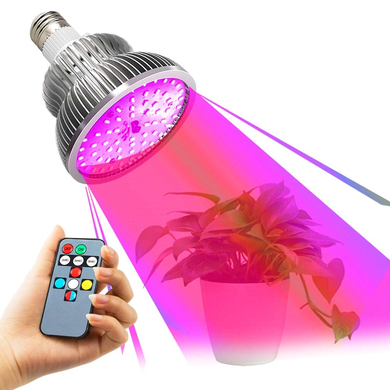 E27 Full Spectrum Remote Control Led Plant Growth Lamp 50W High Power Sunlight Timing Function Phyto Lamp For Garden Flower Vege