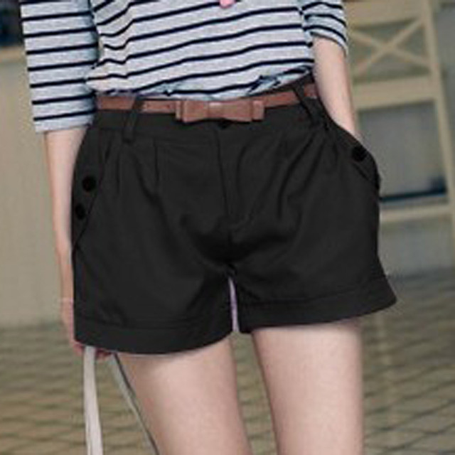 Women Solid England Style Mid Waist Button Fly Shorts Women's Casual Summer Pantalones Women Slim Large Size Pocket Shorts 6