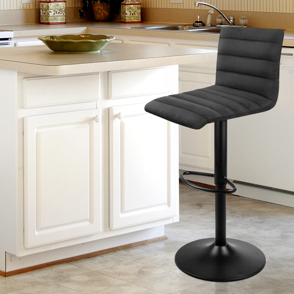 Artiss 2PCS Fabric Bar Stools Black Comfortable L-Shaped Seat High Density Foam Height Adjustable Bar Chairs A2