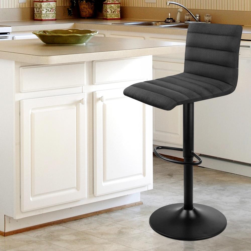 Artiss 2PCS Fabric Bar Stools Black Comfortable L Shaped Seat High Density Foam Height Adjustable Bar Chairs A2