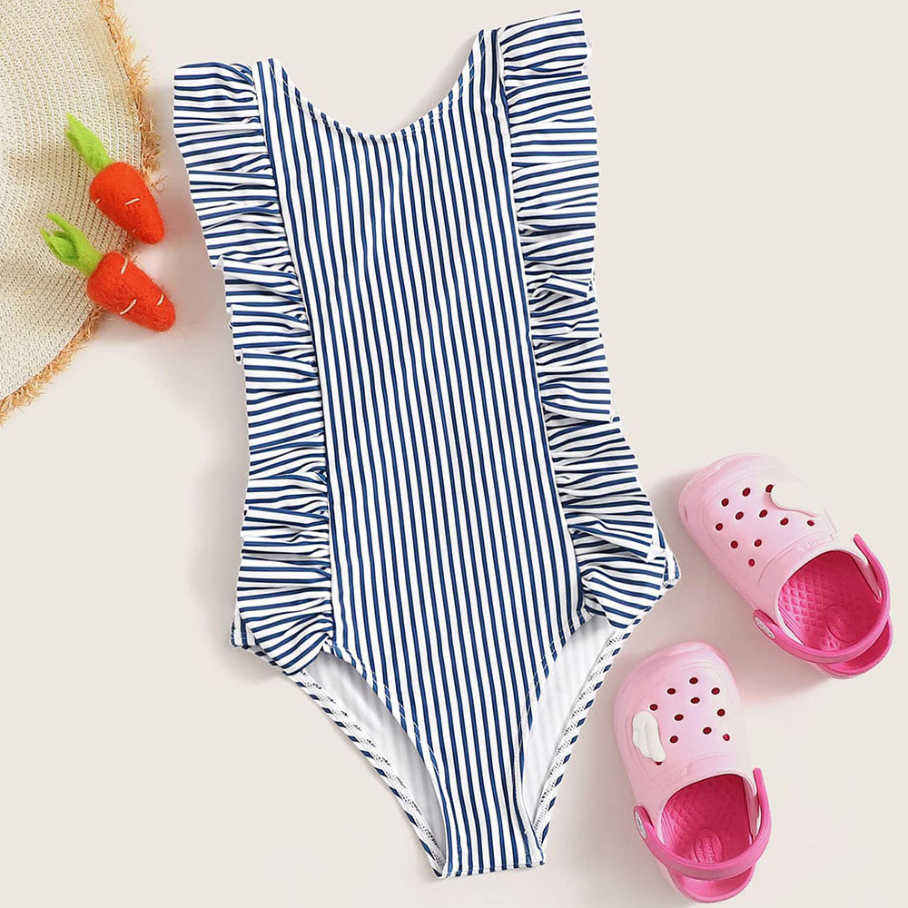 Hot Selling 2018 Europe And America Bikini Bathing Suit Bikini Digital Printing Blue And White Strip Lotus Leaf Children Swimwea