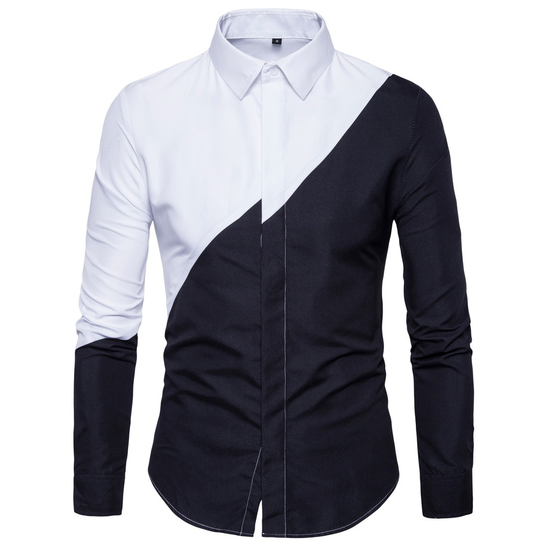 2018 New Style Shirt Men's Youth Trend Black And White Stitching Men Fashion And Personality Long Sleeve Large Size Shirt