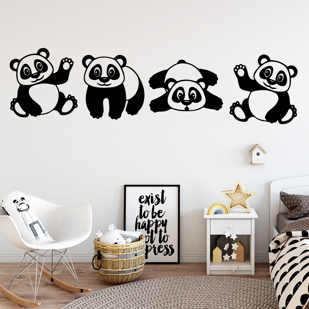 Cartoon Panda Wall Stickers Vinyl Wall Decor For Kids Room Decoration Removable Decals Stickers Art Murals Nursery Wallpaper