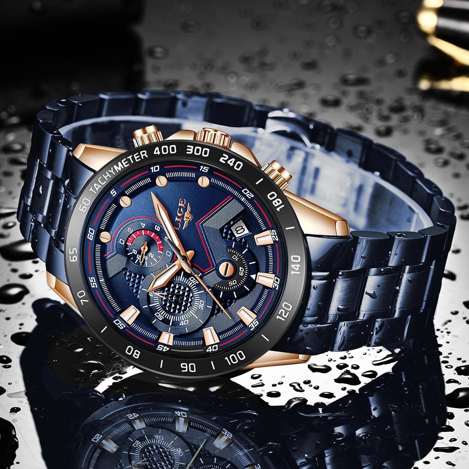 Hfebe887dfa624b8eb4747a2916239b64y LIGE Men Watches Top Brand Luxury Stainless Steel Blue Waterproof Quartz Watch Men Fashion Chronograph Male Sport Military Watch