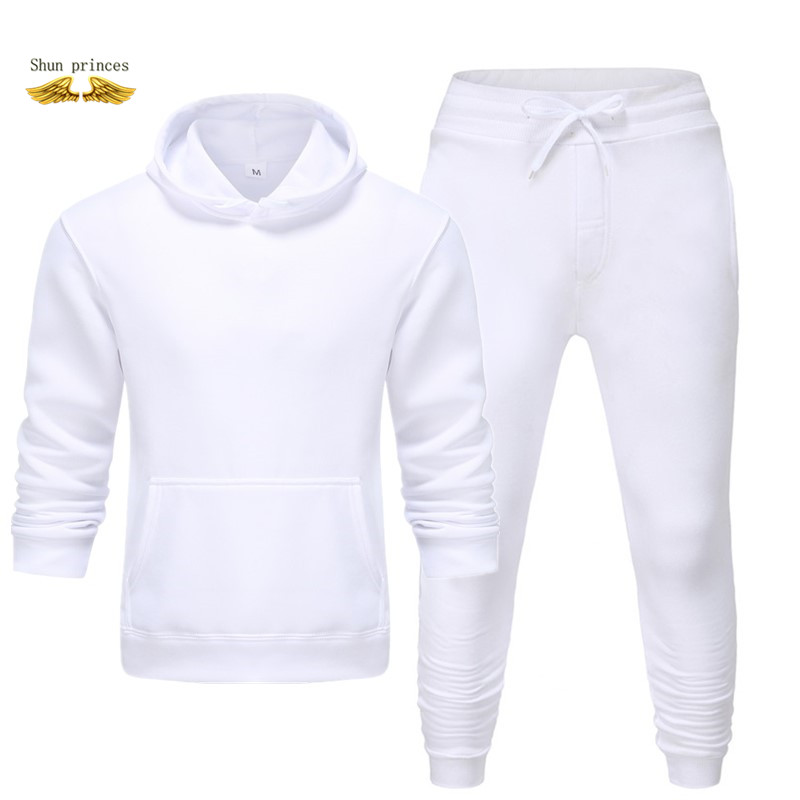 White Black Men Hoodies Set Fashion 2019 Autumn Brand Casual Tracksuit Mens Set Sports Hoodie Pant Male Suit Free Transportation