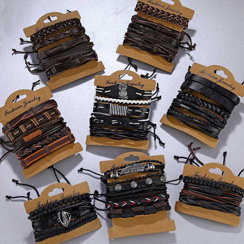Ifmia vintage multi-camada pulseira de couro das senhoras masculino pulseira de jóias pulseiras pulseiras novo estilo presente de festa presentes boêmio