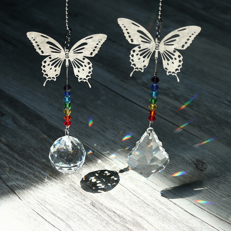 H&D 2pcs Crystal Butterfly Suncatcher Chakra Beads Window Hanging Suncatcher Rainbow Collection For Christmas Day,Wedding Decor