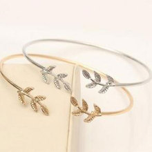 2019 Hot New Fashion Adjustable Leaf Cuff Opening Bracelet Personality For Women Alloy Bangles Jewelry Gift chic exaggerated alloy cuff bracelet for women