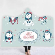 Одеяло с капюшоном в виде пингвина мультяшный подарок на Рождество