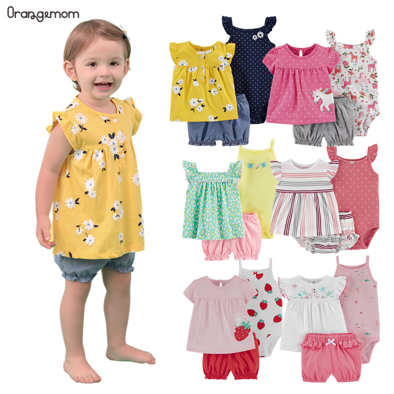 Summer dresses 2020 baby girl clothing set cotton home for baby girl clothes ,  15 colours short unicorn infant clothing suit