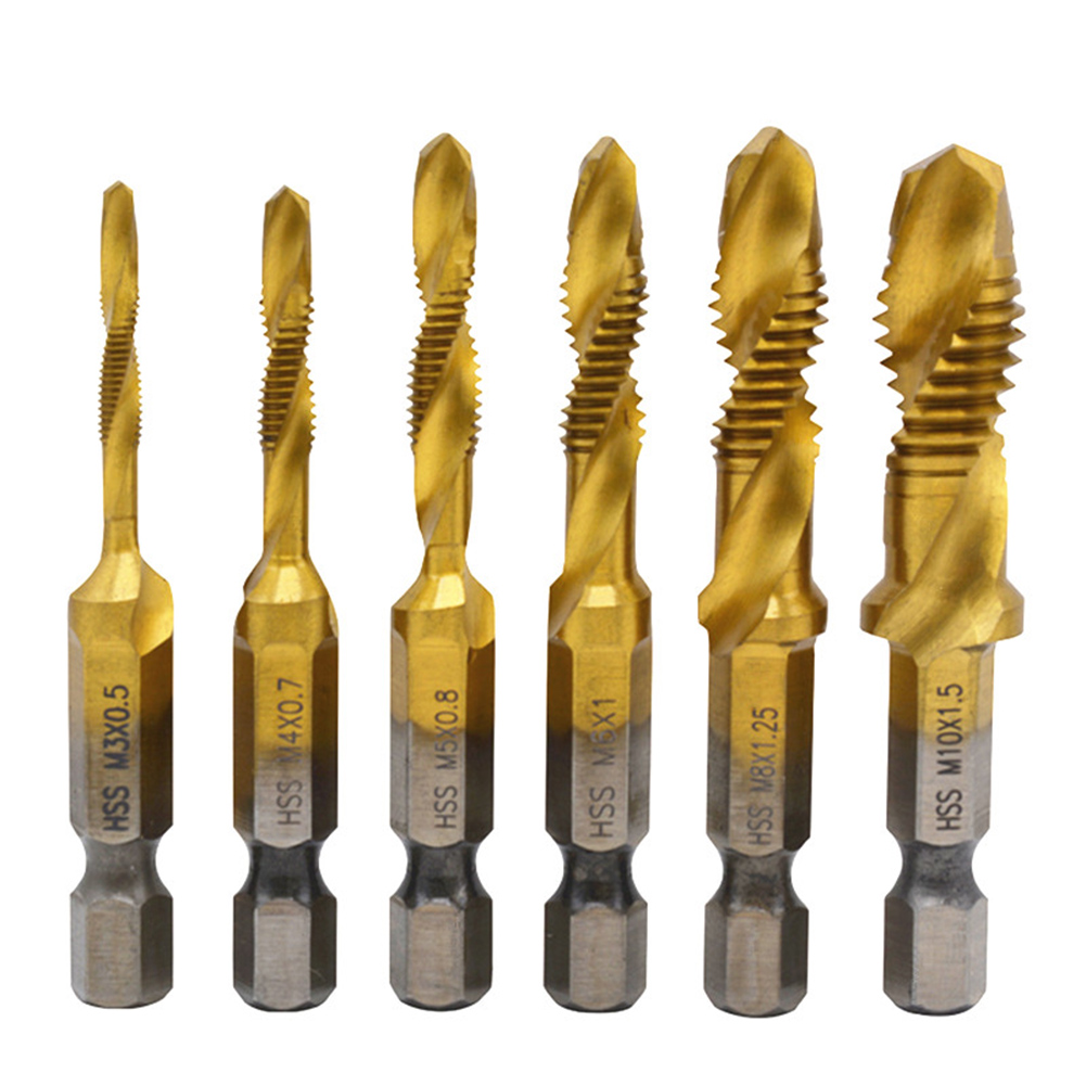 6pcs M3-M10 Hex Shank Titanium Plated HSS Screw Thread Metric Tap Drill Bit