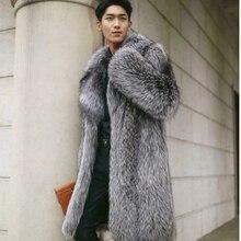 Pele tun falso dos homens inverno quente longo jaqueta lapela casaco graben mantel outwear parka AHY-020
