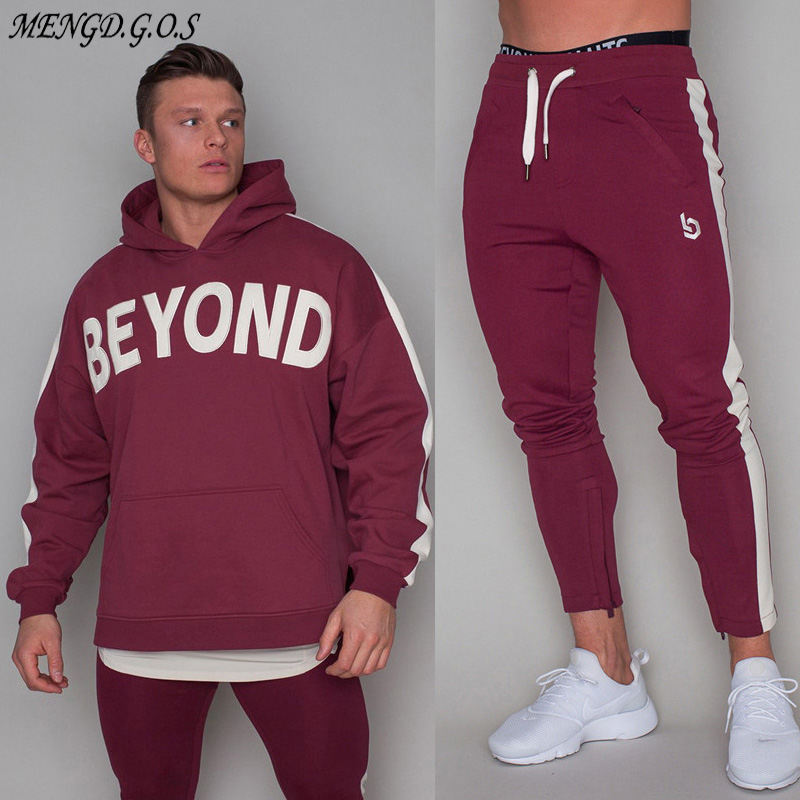 2019 New Men's Compression Suit Running Loose Exercise Pullover Fitness Training Sportswear Long-sleeved Sports Suit Brand Set