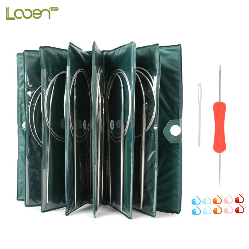 11 Sizes Stainless Steel Circular Knitting Needles Kit Yarn Weave DIY Knitting Needles Hooks Set With Bag 43cm 65cm 80cm Length