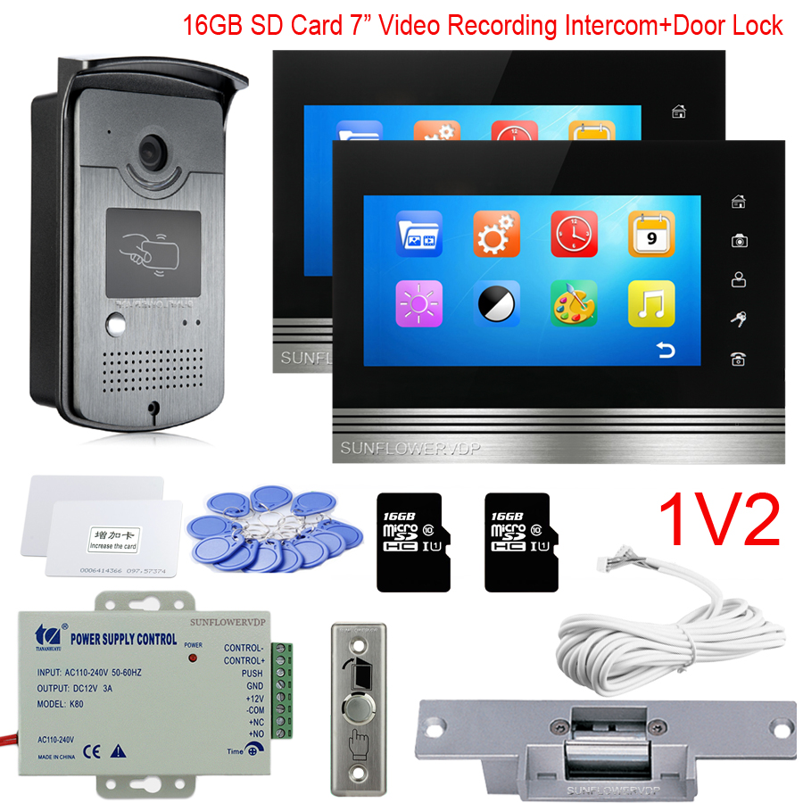 """16GB SD Video Recording 7"""" Touch Key Monitor Home Intercom Rfid Card Unlock Doorbell Videophone With Electric Door Lock Full Kit"""