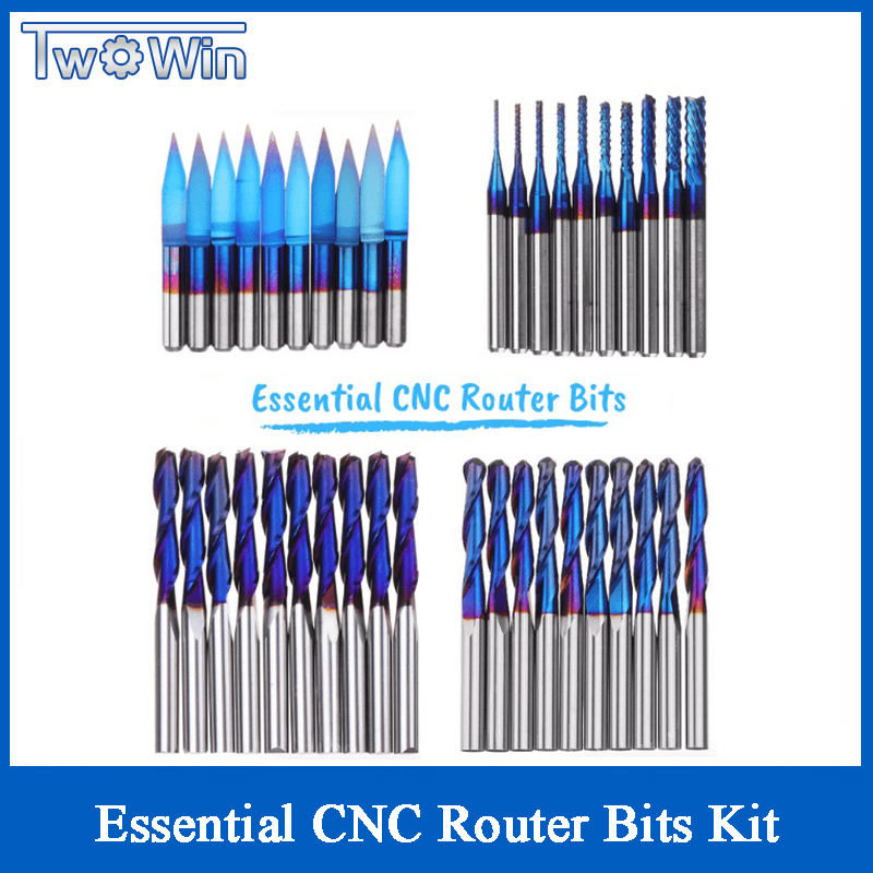 40pcs 3.175mm Blue Coated Essential CNC Router Bits End Mill Cutter Mini PCB Carbide Router Bits Kit Set For Milling Tools New