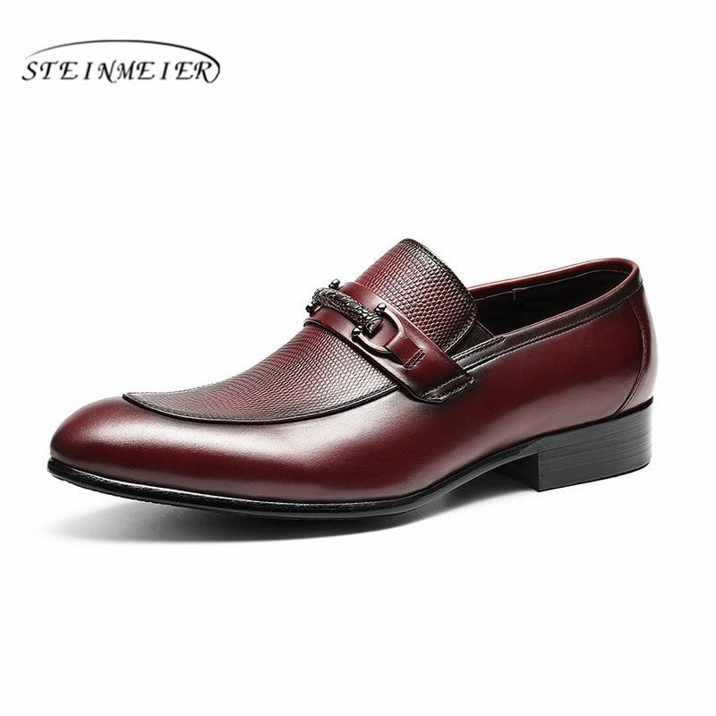 Hommes en cuir véritable richelieu chaussures d'affaires robe banquet costume chaussures hommes marque Bullock mariage oxford chaussures pour hommes 2019 noir-in Chaussures d'affaires from Chaussures    1