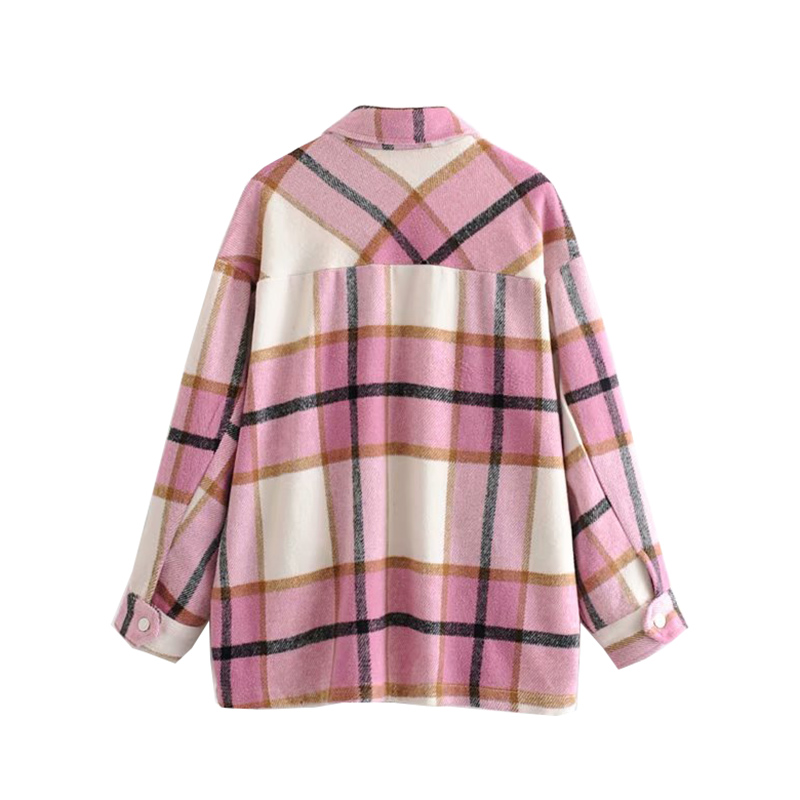 Hfebf664ffe7843648686842247cde047f Vintage Stylish Pockets Oversized Plaid Jacket Coat Women 2019 Fashion Lapel Collar Long Sleeve Loose Outerwear Chic Tops