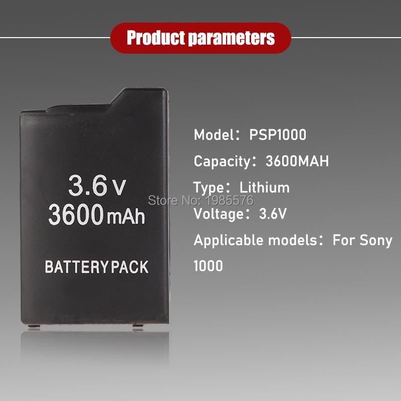 1PCS PSP1000 Battery Pack For Sony PSP-110 PSP 1000 Console Gamepad Real capacity 3600mAh 3.6V Rechargeable batteries 5