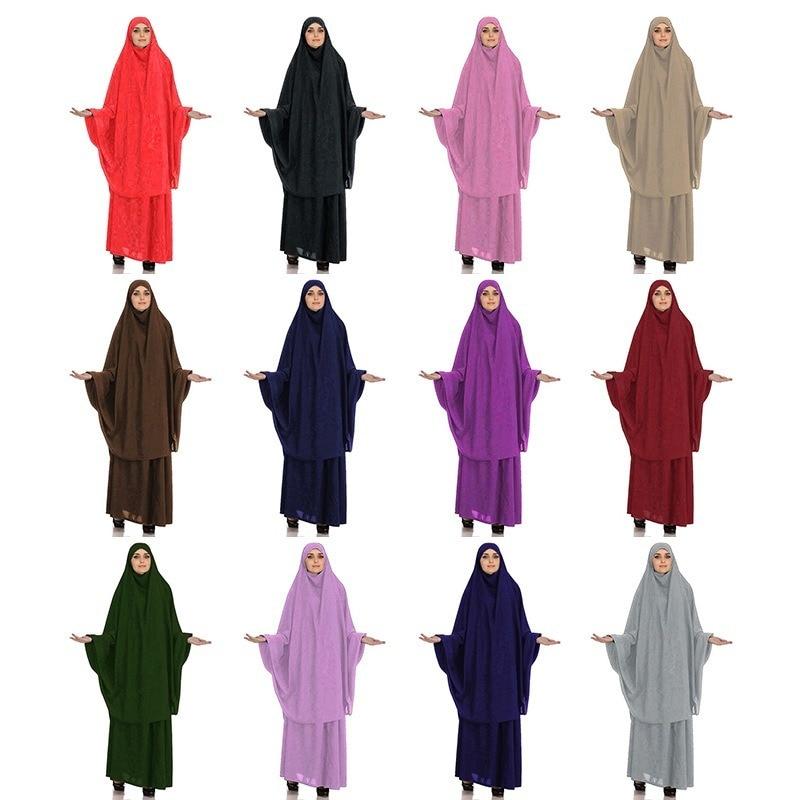 Muslim Burqa Abaya Women Hijab Dresses Prayer Garment 2 Peices Sets Burka Niqab Long Khimar Kaftan Robe Jilbab Islamic Clothing