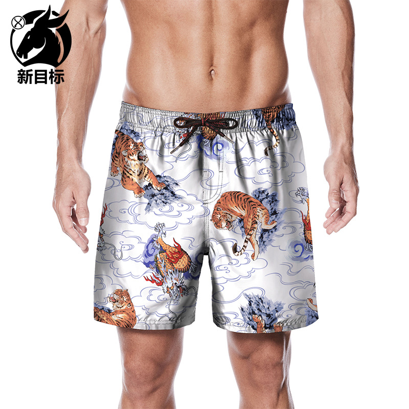China Element Shorts Summer Loose-Fit Quick-Dry Boardshort Creative Dragon And Tiger Figure Printed Beach Shorts New Style Large
