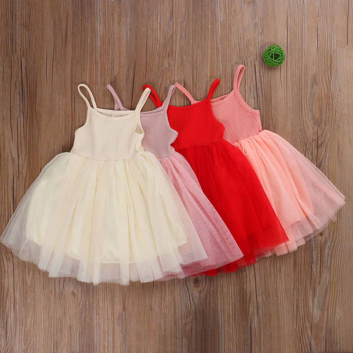 Crianças da criança do bebê menina sólida princesa vestido de espaguete alças sem mangas tutu tule malha camada vestido de festa de aniversário de casamento