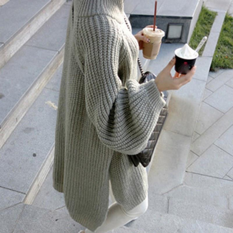 Fall Winter Women Lantern Sleeve Thick Warm Sweater Pullover Solid Oversize Loose Sweaters Empire Knitted Turtleneck Jumpers