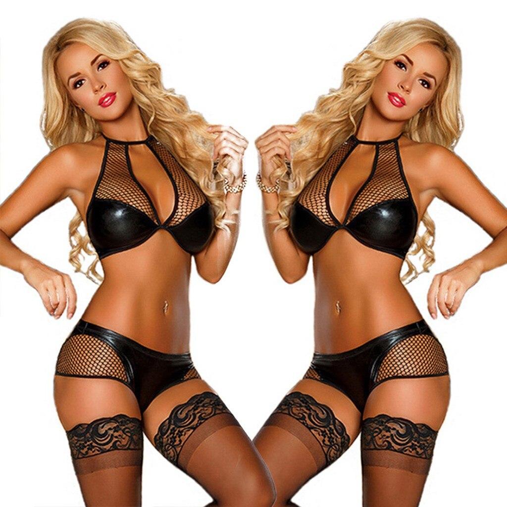 Plus Size Women Leather Sexy Lingerie Porno Splice Hollow Bra With Brief Sexy Underwear Set Erotic Babydoll Clubwear Costume 2PC