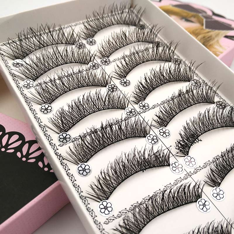 SHIDISHANGPIN 10 Pairs False Eyelashes Natural Eye Lashes Synthetic Hair False Lashes Handmade Fake Mink Eyelashes Makeup