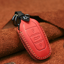 Dandkey Genuine Leather Smart Car Remote Key Case Bag For Peugeot 408 4008 5008 308s For Citroen C4 Picasso Key Cover Protector