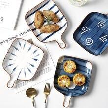 Керамическая тарелка для салата в японском стиле с ручкой