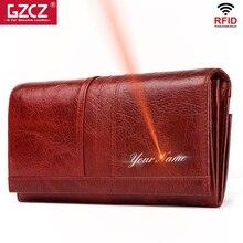 GZCZ кошелек из натуральной кожи женский модный кошелек ручной работы женский клатч женский кошелек Portomonee зажим длинный Чехол держатель для карт