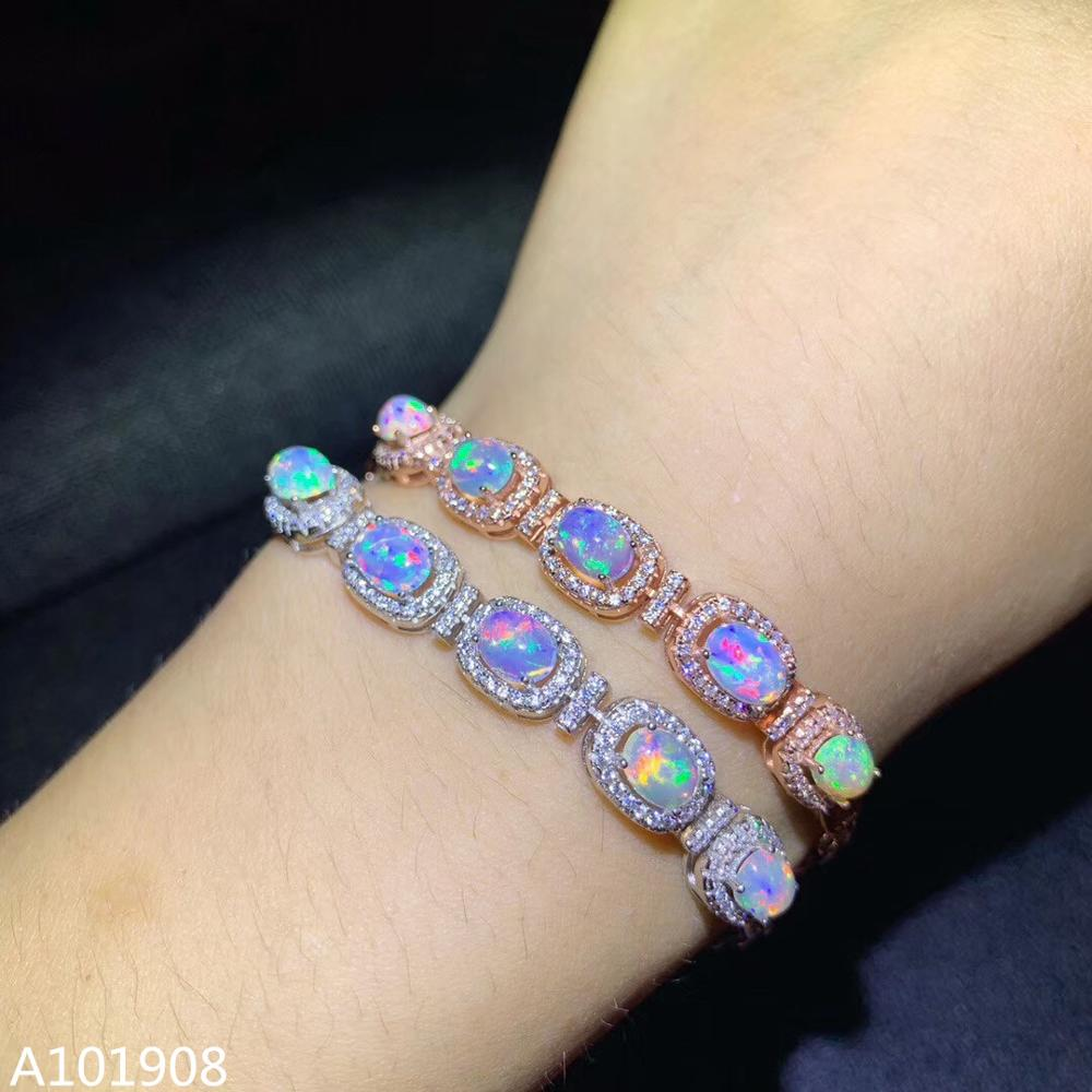 KJJEAXCMY boutique jewelry 925 sterling silver inlaid Natural Opal Women's Fine Bracelet Support Test