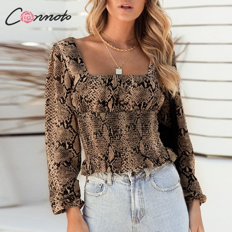 Conmoto Autumn Winter 2019 Sexy Club Blouse Women Puff Square Collar Blouse Shirts Snaked Print  Twist Vintage Blouse Shirts