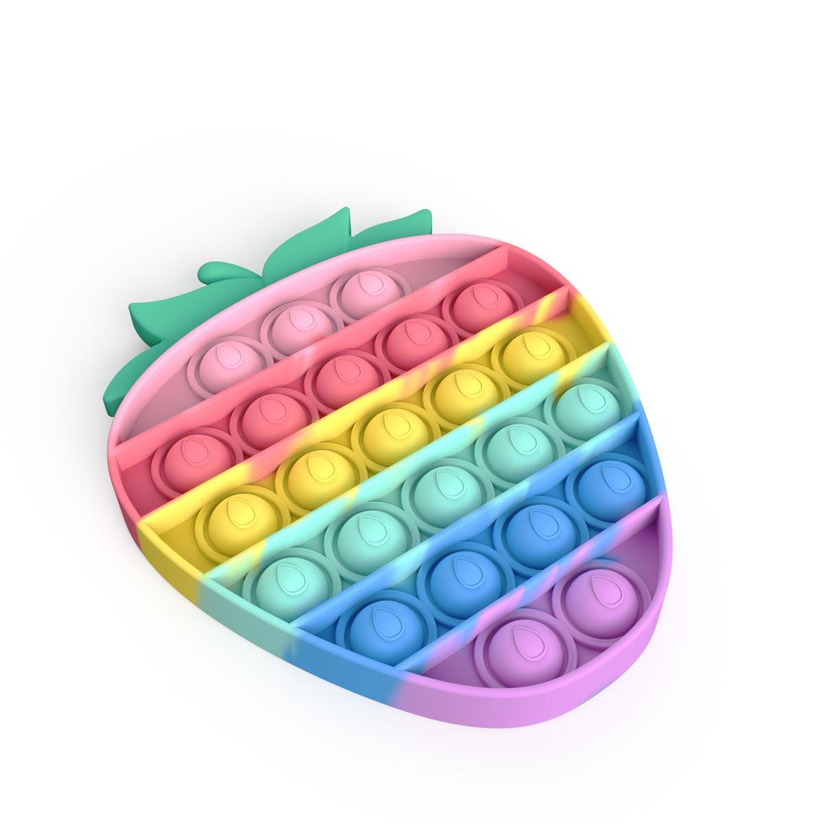 Push Pop Bubble Sensory Toy Autism Needs Squishy Stress Reliever Toys Anti-stress Pop It Fidget Strawberry Pineapple Rainbow Toy img4