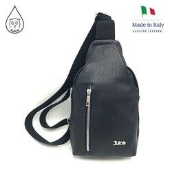 Jugo de marca bolso de cuero genuino hecho en Italia de paquete de la cintura bolsa para men.007.412