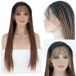 Pelucas largas de encaje Rongduoyi de 2x trenzas para mujer, peluca trenzada marrón oscuro, peluca trenzada sintética resistente al calor, peluca con malla frontal