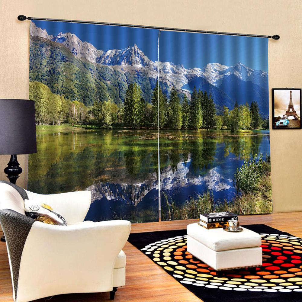 Nature scenery blue landscape curtains Customized size Luxury Blackout 3D Window Curtains For Living Room stereoscopic curtains