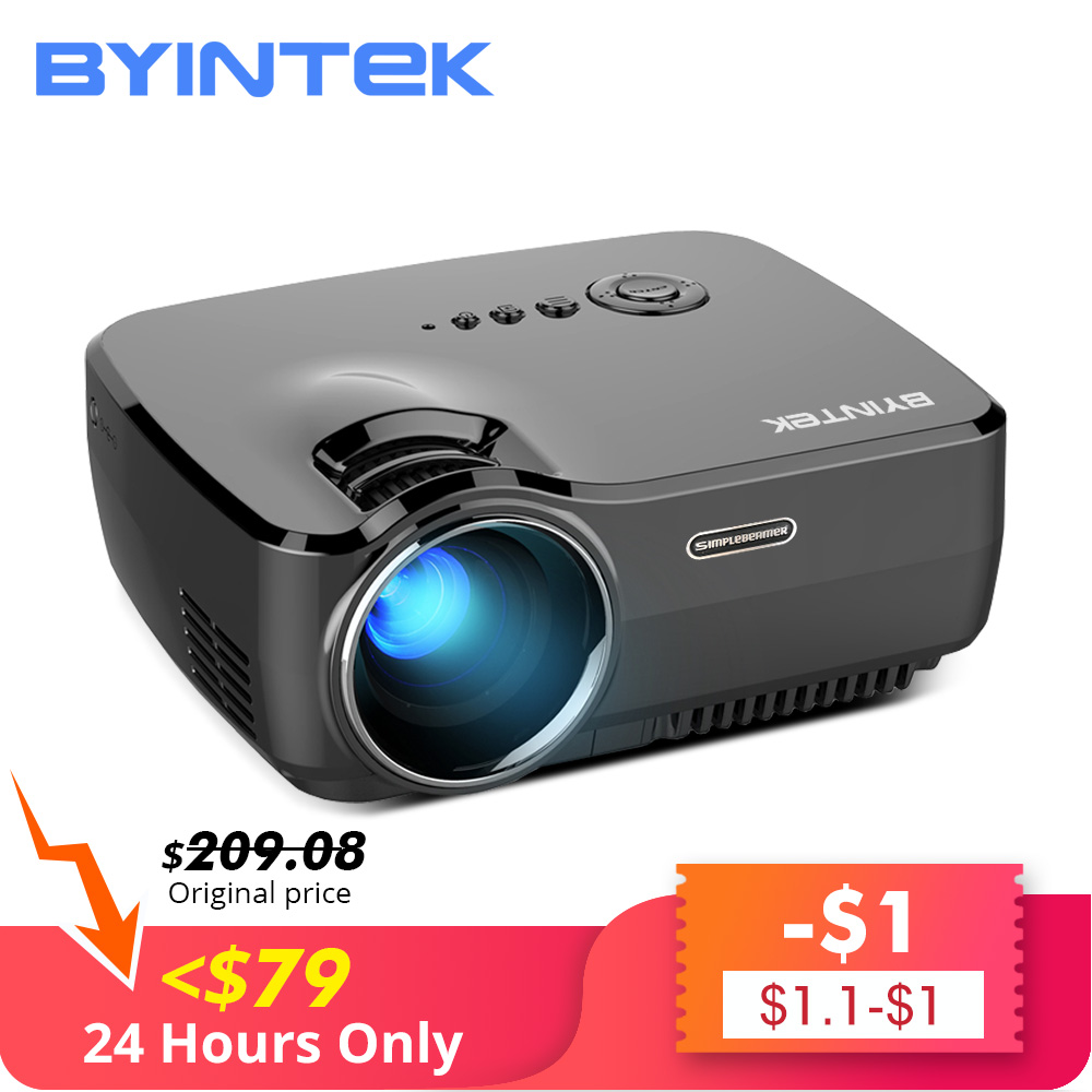Venda de afastamento BYINTEK 79 $ Marca CÉU GP70 Portátil Mini LED de Vídeo Cinema Digital HD Projetor de Home Theater