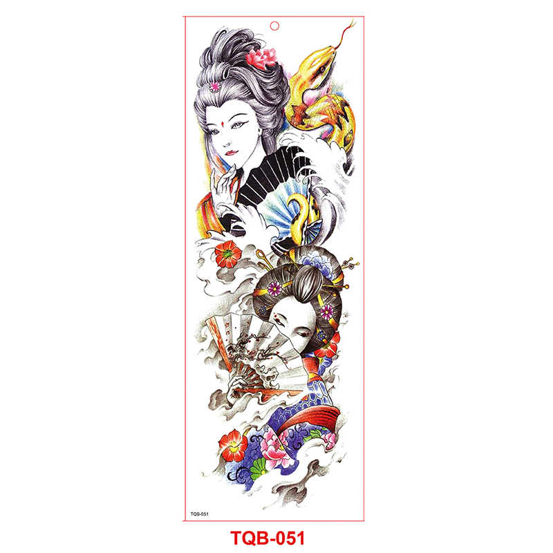Armii wojownik żołnierz czarne tymczasowe naklejki z tatuażami dla mężczyzn pełna Body Art ramię rękaw tatuaż 48*17CM duża wodoodporna, tatuaż dziewczyna