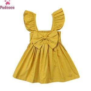 Newborn Infants Solid Yellow Pink Ruffles Dress Kids Baby Girls Clothing Sleeveless Bowknot Summer Princess Dresses Outfits(China)