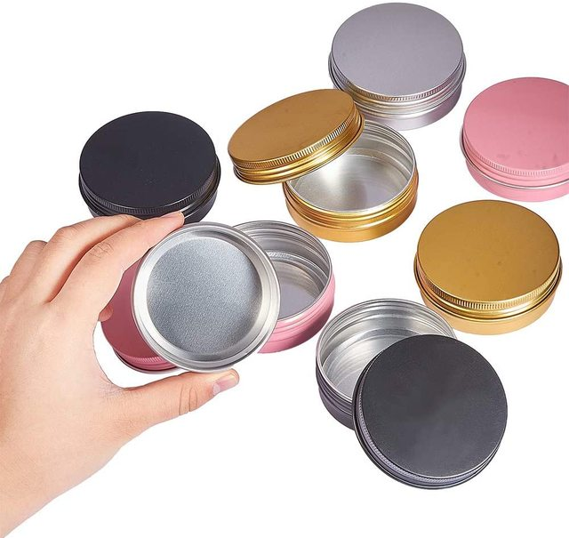 20Pcs Cream Jar Round Tin Cosmetic Lip Balm Containers Nail Craft Pot Refillable Bottle Screw Thread Lids Empty Aluminum Cans