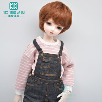 BJD doll clothes fits 40-45cm 1/4 MSD MK MYOU fashion striped sweater, denim overalls [wamami] 50 white chest op sweater tight knitwear for 1 4 msd dod bjd girl doll