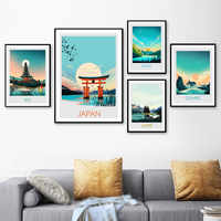 Pintura en lienzo de paisaje moderno nórdico de Bali, Banff, sala de estar, arte de pared, pintura marina en lienzo, decoración de arte de la pared